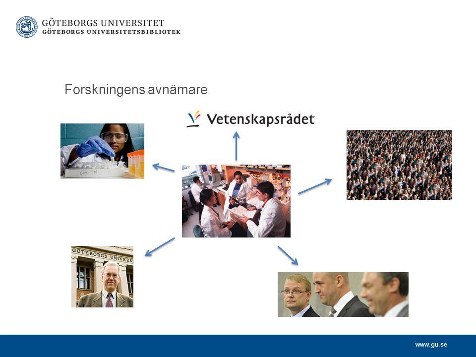 www.gu.se Mäta forskning Optimeringssamhället Allt ska kunna kvantifieras och definieras i nyckeltal