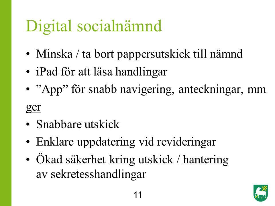 Digital socialnämnd Minska / ta bort pappersutskick till nämnd iPad för att läsa handlingar App för snabb navigering, anteckningar, mm ger Snabbare utskick Enklare uppdatering vid revideringar Ökad säkerhet kring utskick / hantering av sekretesshandlingar 11