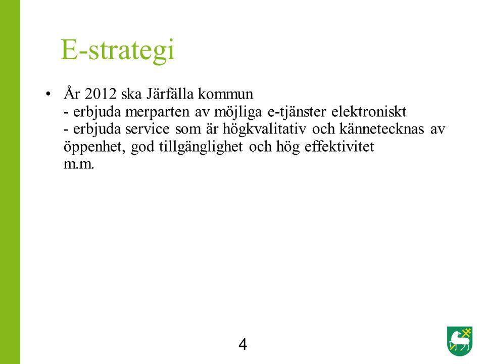 E-strategi År 2012 ska Järfälla kommun - erbjuda merparten av möjliga e-tjänster elektroniskt - erbjuda service som är högkvalitativ och kännetecknas av öppenhet, god tillgänglighet och hög effektivitet m.m.