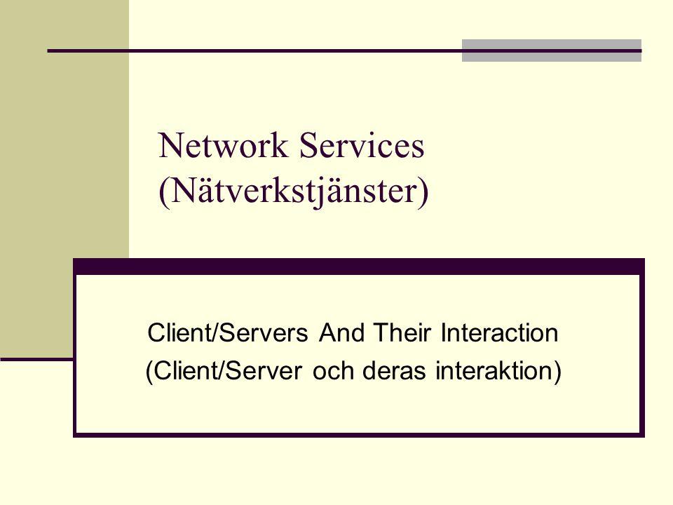 Sambandet mellan Client/Server Server En programvara/dator som levererar en tjänst Webb Email Client En programvara/dator som kan utnyttja en tjänst Webbläsare (browser) (Internet Explorer, Firefox) Emailklient (Groupwise, Outlook)