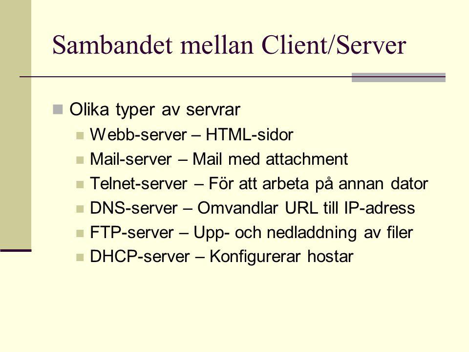 Protokoll Applikation HTTP (HyperText Transfer Protocol) Transport TCP (Transmission Control Protocol) UDP (User Datagram Protocol) Internet IP (Internet Protocol) Nätverksaccess Ethernet