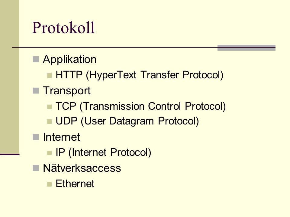 Transportprotokoll TCP (Transmission Control Protocol) Numrerade segment Tillförlitligt protokoll (Reliable) Anslutningsorienterat (Connection oriented) Segmenten är numrerade UDP (User Datagram Protocol) Osäkert protokoll (Ureliable) Fristående meddelanden (Connectionless) Snabbare än TCP