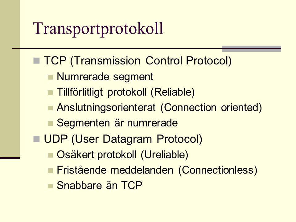Transportprotokoll TCP (Transmission Control Protocol) Numrerade segment Tillförlitligt protokoll (Reliable) Anslutningsorienterat (Connection oriente