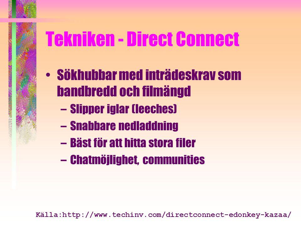 Tekniken - Direct Connect Sökhubbar med inträdeskrav som bandbredd och filmängd –Slipper iglar (leeches) –Snabbare nedladdning –Bäst för att hitta stora filer –Chatmöjlighet, communities Källa:http://www.techinv.com/directconnect-edonkey-kazaa/