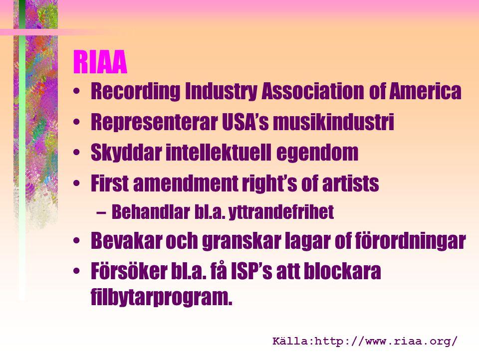 RIAA Recording Industry Association of America Representerar USA's musikindustri Skyddar intellektuell egendom First amendment right's of artists –Behandlar bl.a.