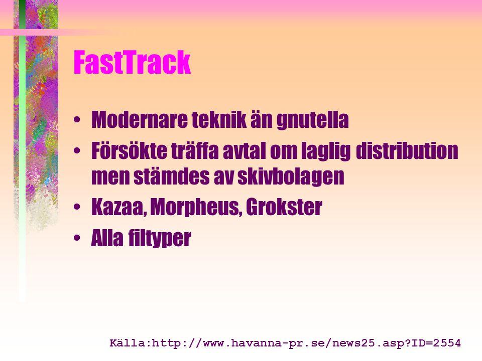 FastTrack Modernare teknik än gnutella Försökte träffa avtal om laglig distribution men stämdes av skivbolagen Kazaa, Morpheus, Grokster Alla filtyper Källa:http://www.havanna-pr.se/news25.asp?ID=2554