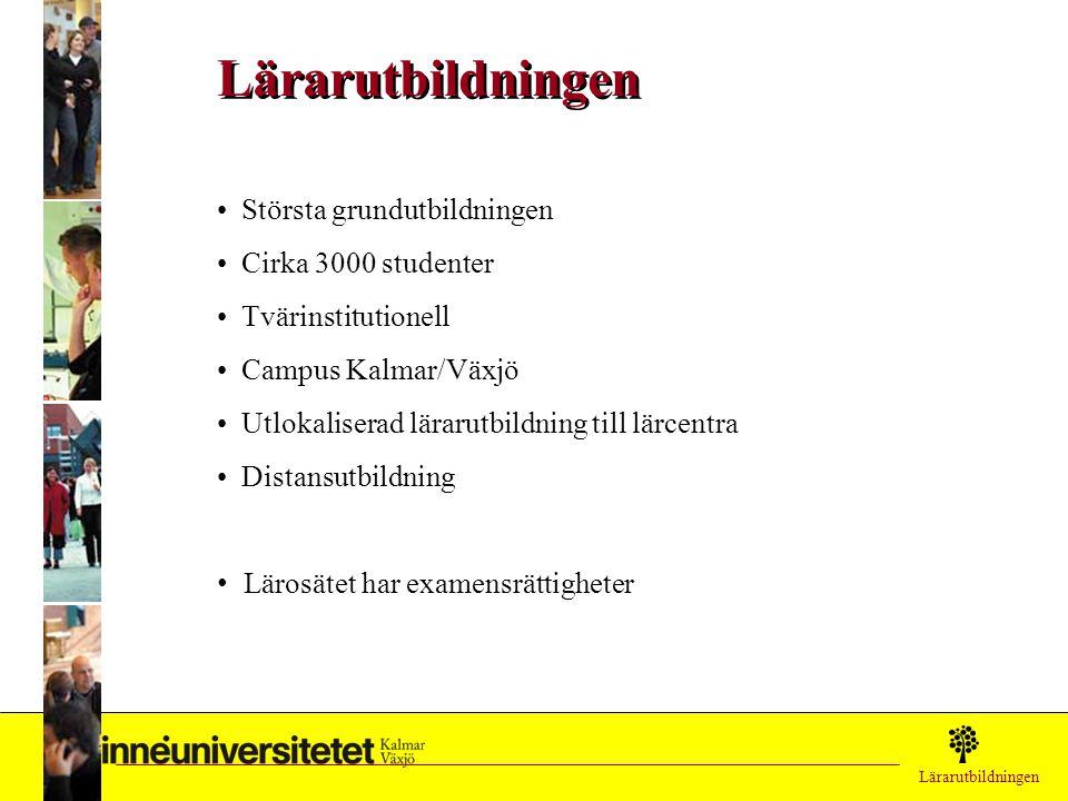 Lärarutbildningen Största grundutbildningen Cirka 3000 studenter Tvärinstitutionell Campus Kalmar/Växjö Utlokaliserad lärarutbildning till lärcentra D