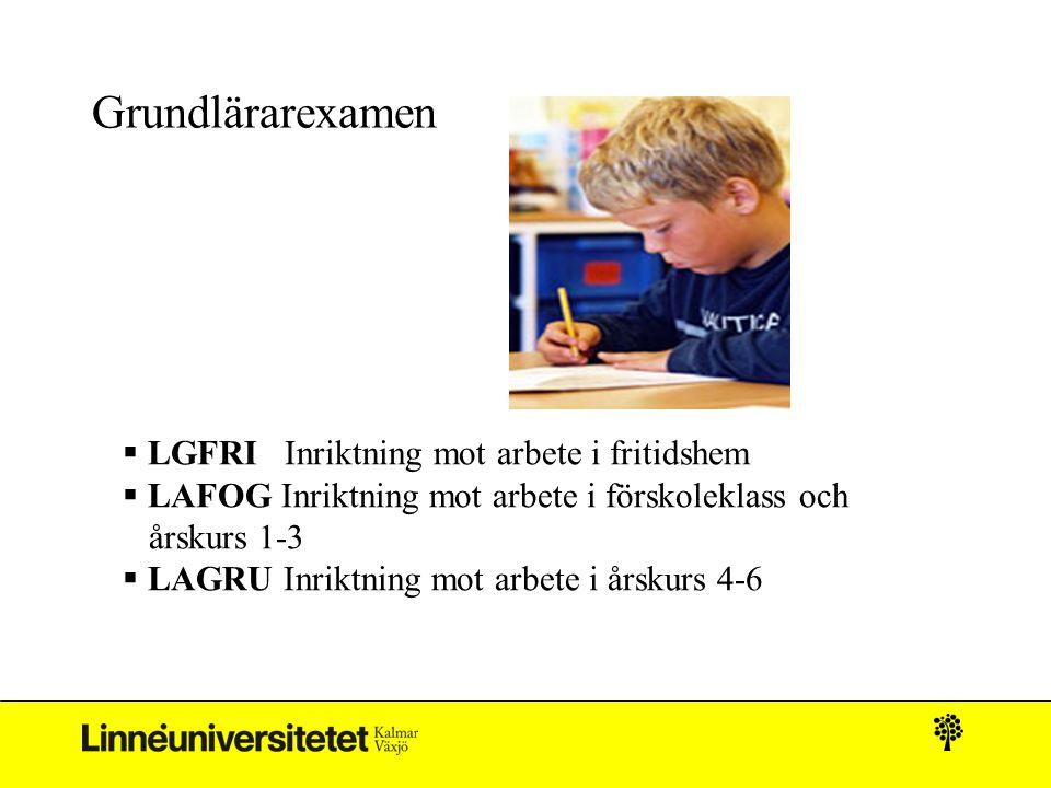 Grundlärarexamen  LGFRI Inriktning mot arbete i fritidshem  LAFOG Inriktning mot arbete i förskoleklass och årskurs 1-3  LAGRU Inriktning mot arbet