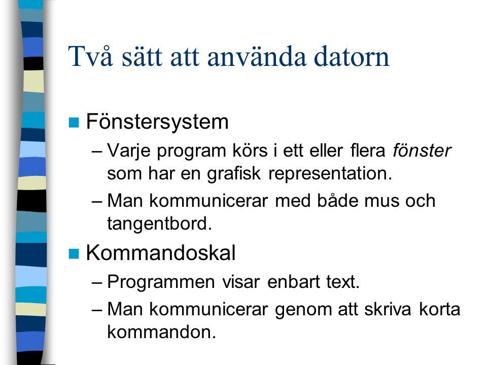 Två sätt att använda datorn Fönstersystem –Varje program körs i ett eller flera fönster som har en grafisk representation. –Man kommunicerar med både