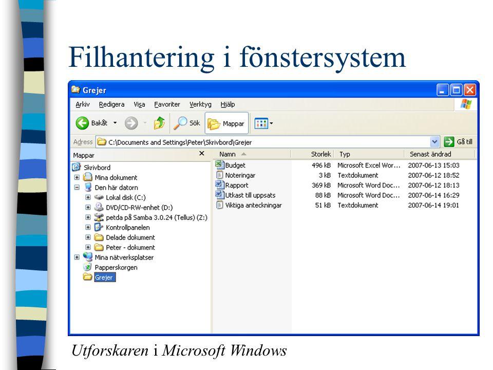 Filhantering i fönstersystem Utforskaren i Microsoft Windows