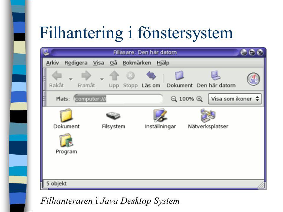 Filhantering i fönstersystem Filhanteraren i Java Desktop System