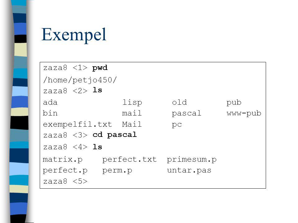Exempel zaza8 pwd /home/petjo450/ zaza8 ls ada lisp old pub bin mail pascal www-pub exempelfil.txt Mail pc zaza8 cd pascal zaza8 ls matrix.p perfect.txt primesum.p perfect.p perm.p untar.pas zaza8