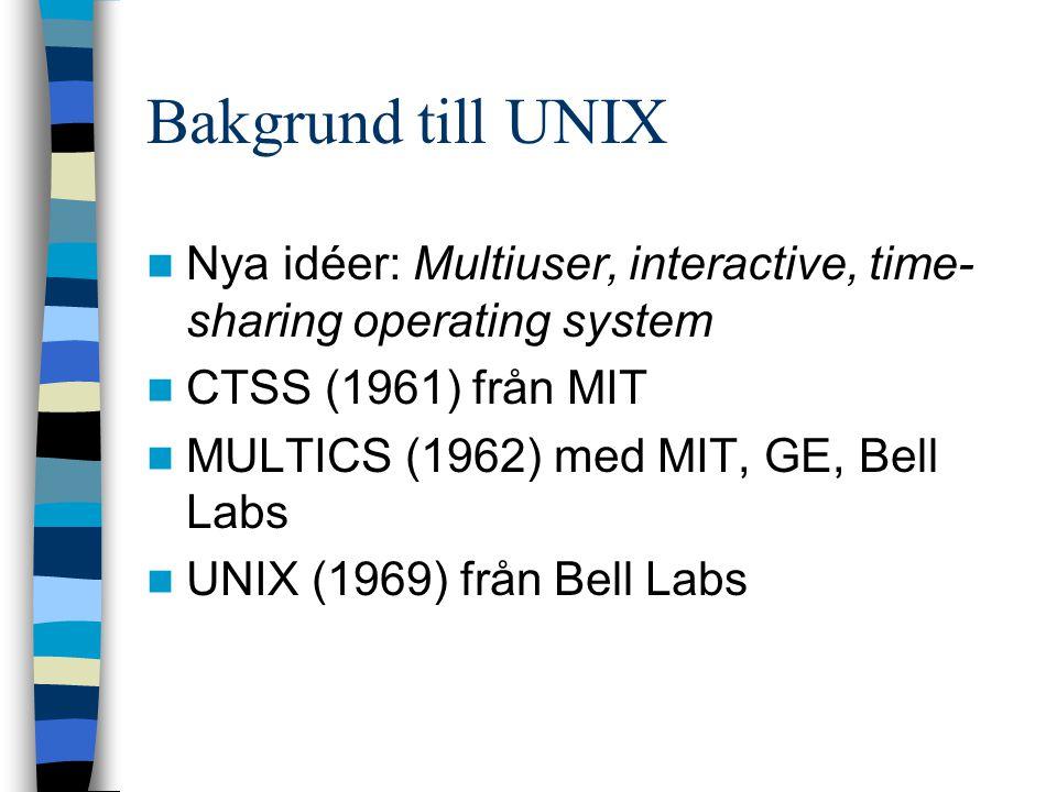 Nya idéer: Multiuser, interactive, time- sharing operating system CTSS (1961) från MIT MULTICS (1962) med MIT, GE, Bell Labs UNIX (1969) från Bell Lab