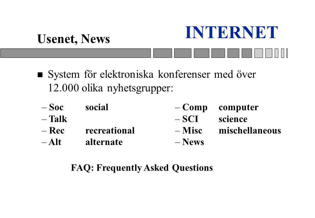 INTERNET n System för elektroniska konferenser med över 12.000 olika nyhetsgrupper: Usenet, News FAQ: Frequently Asked Questions – Socsocial – Talk – Recrecreational – Altalternate – Compcomputer – SCIscience – Miscmischellaneous – News