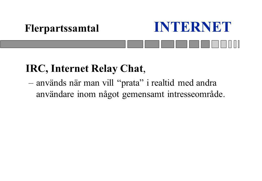 INTERNET IRC, Internet Relay Chat, –används när man vill prata i realtid med andra användare inom något gemensamt intresseområde.