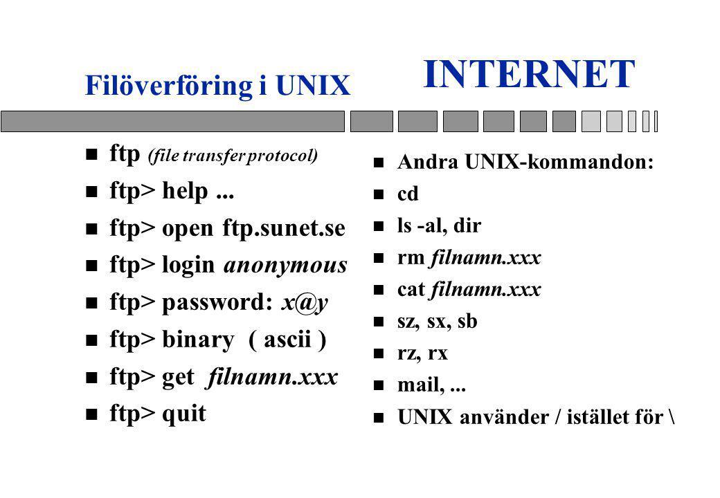INTERNET n ftp (file transfer protocol) n ftp> help...