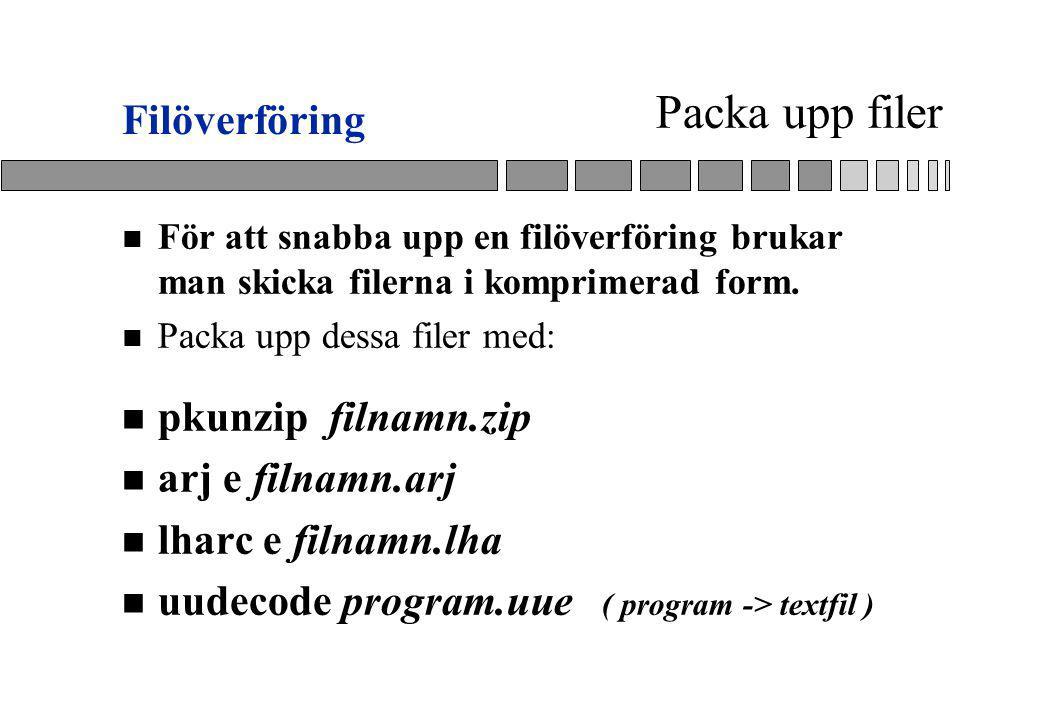 Packa upp filer n För att snabba upp en filöverföring brukar man skicka filerna i komprimerad form.