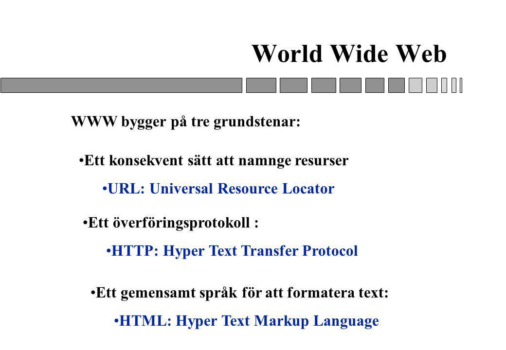 World Wide Web WWW bygger på tre grundstenar: Ett gemensamt språk för att formatera text: HTML: Hyper Text Markup Language Ett konsekvent sätt att namnge resurser URL: Universal Resource Locator Ett överföringsprotokoll : HTTP: Hyper Text Transfer Protocol