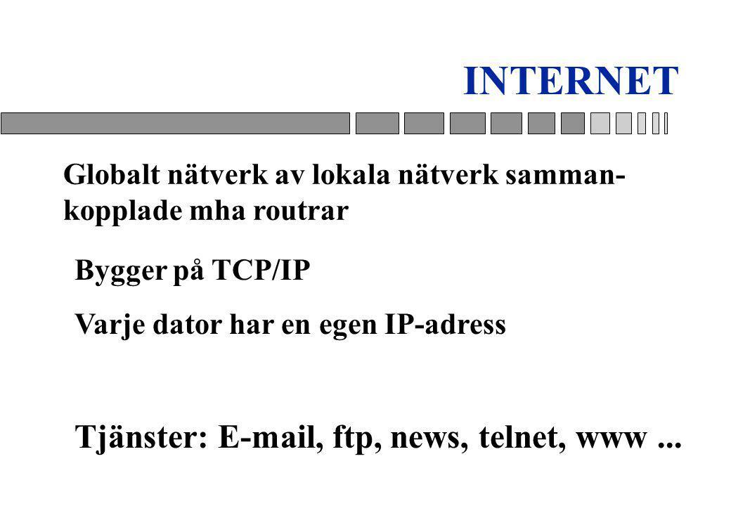 Globalt nätverk av lokala nätverk samman- kopplade mha routrar Bygger på TCP/IP Varje dator har en egen IP-adress Tjänster: E-mail, ftp, news, telnet, www...