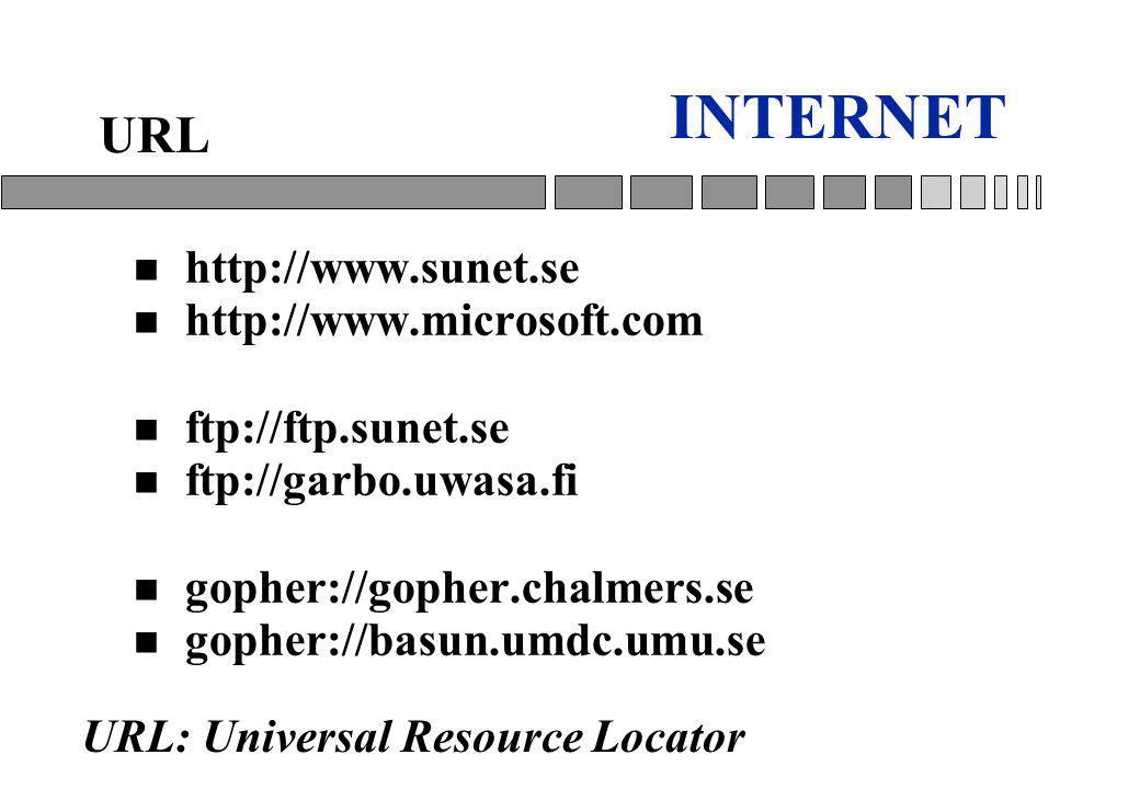 INTERNET n http://www.sunet.se n http://www.microsoft.com n ftp://ftp.sunet.se n ftp://garbo.uwasa.fi n gopher://gopher.chalmers.se n gopher://basun.umdc.umu.se URL URL: Universal Resource Locator