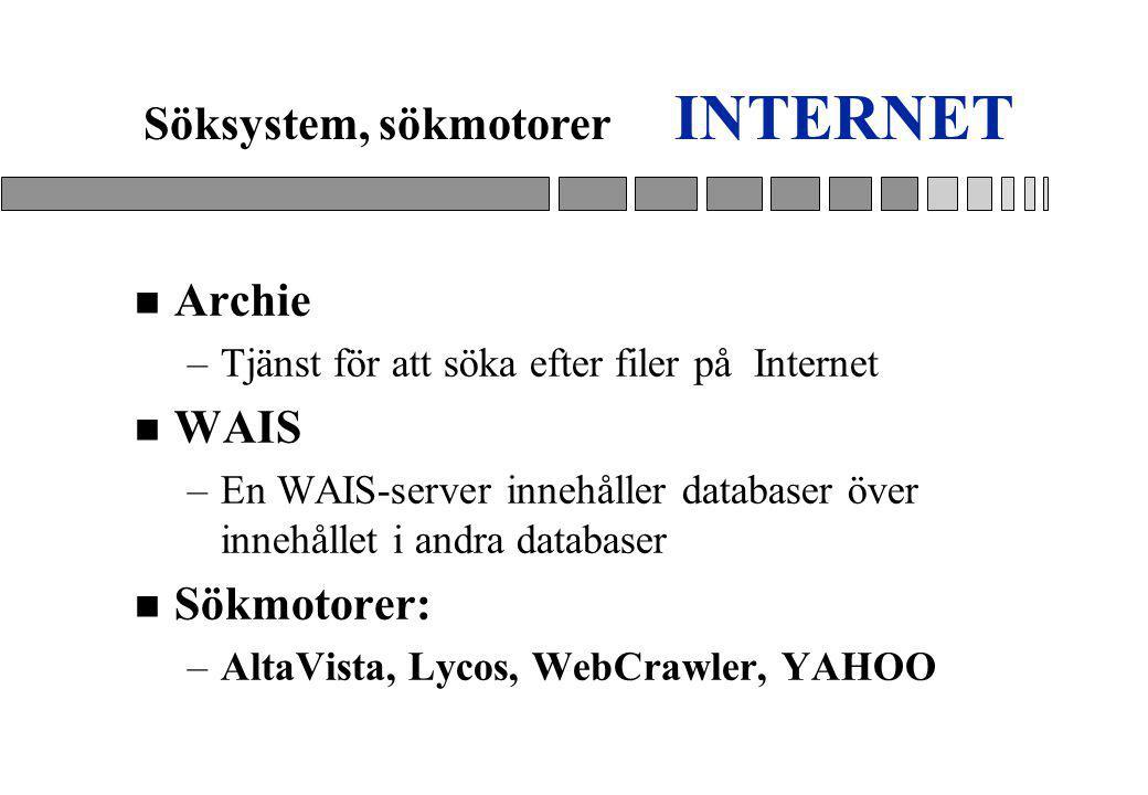 INTERNET n Archie –Tjänst för att söka efter filer på Internet n WAIS –En WAIS-server innehåller databaser över innehållet i andra databaser n Sökmotorer: –AltaVista, Lycos, WebCrawler, YAHOO Söksystem, sökmotorer
