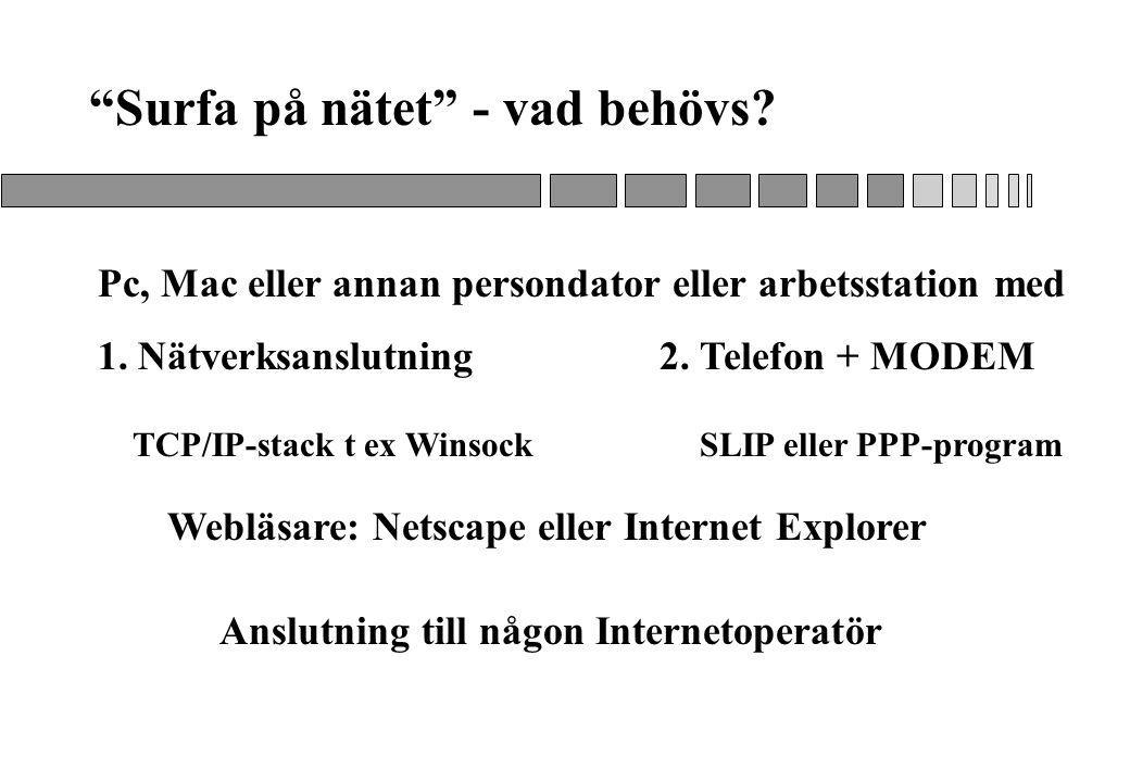 Surfa på nätet - vad behövs.Pc, Mac eller annan persondator eller arbetsstation med 1.