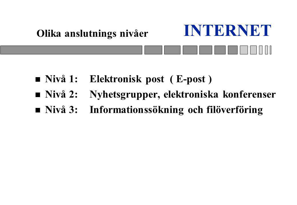 INTERNET n Nivå 1:Elektronisk post ( E-post ) n Nivå 2:Nyhetsgrupper, elektroniska konferenser n Nivå 3:Informationssökning och filöverföring Olika anslutnings nivåer