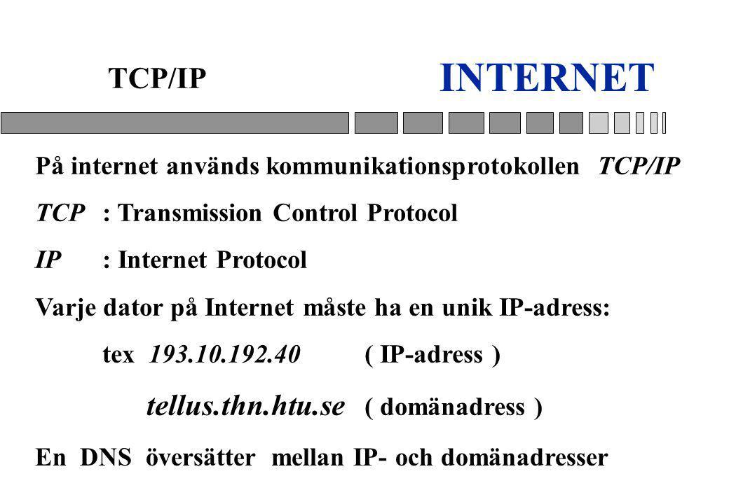 INTERNET TCP/IP På internet används kommunikationsprotokollen TCP/IP TCP : Transmission Control Protocol IP: Internet Protocol Varje dator på Internet måste ha en unik IP-adress: tex 193.10.192.40 ( IP-adress ) tellus.thn.htu.se ( domänadress ) En DNS översätter mellan IP- och domänadresser