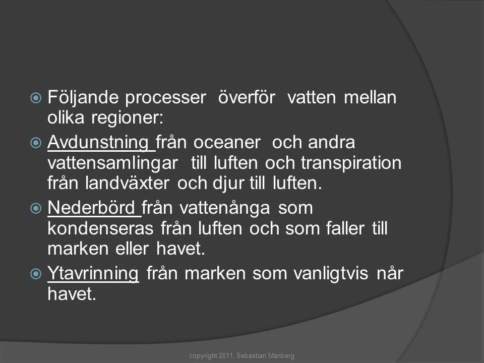  Följande processer överför vatten mellan olika regioner:  Avdunstning från oceaner och andra vattensamlingar till luften och transpiration från lan