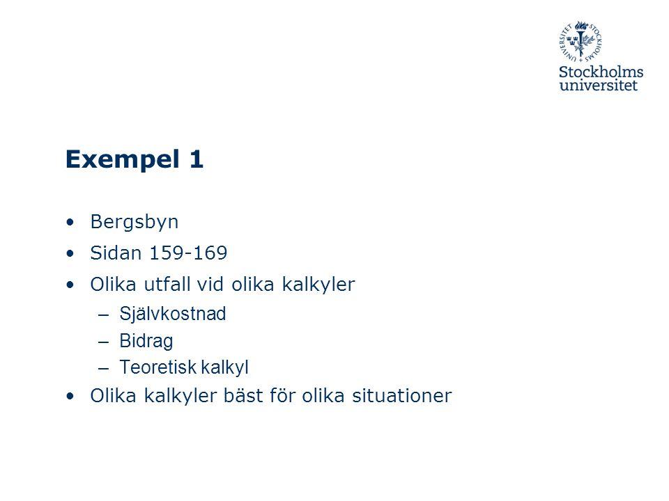 Exempel 1 Bergsbyn Sidan 159-169 Olika utfall vid olika kalkyler –Självkostnad –Bidrag –Teoretisk kalkyl Olika kalkyler bäst för olika situationer