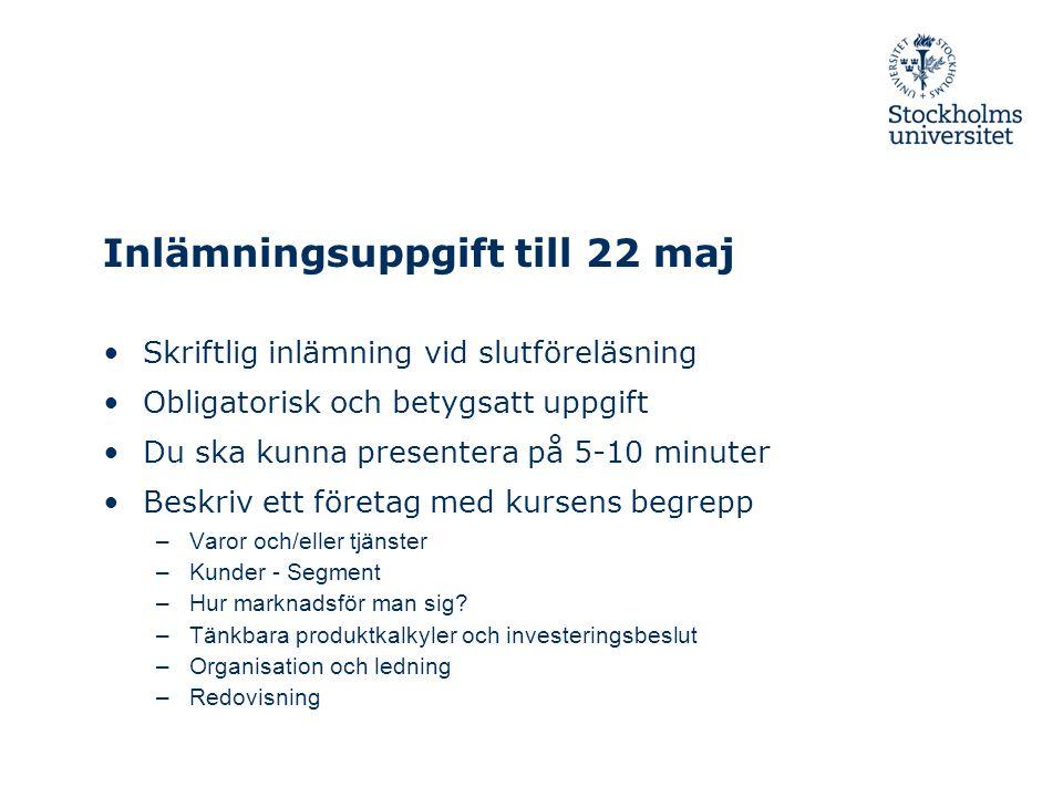 Inlämningsuppgift till 22 maj Skriftlig inlämning vid slutföreläsning Obligatorisk och betygsatt uppgift Du ska kunna presentera på 5-10 minuter Beskr