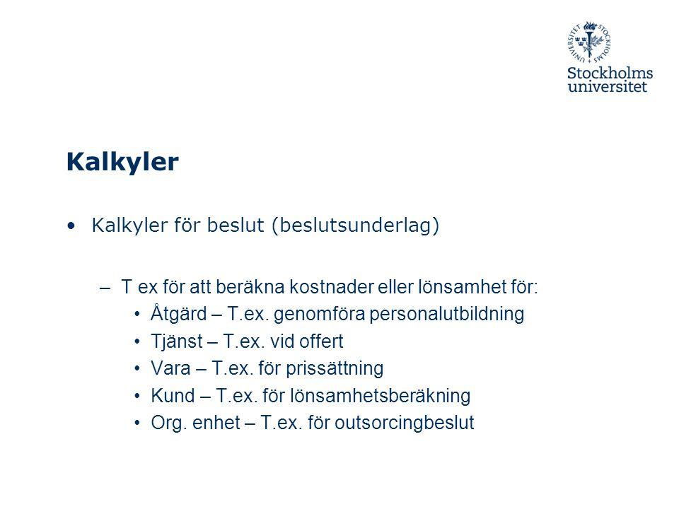 Kalkyler Kalkyler för beslut (beslutsunderlag) –T ex för att beräkna kostnader eller lönsamhet för: Åtgärd – T.ex. genomföra personalutbildning Tjänst