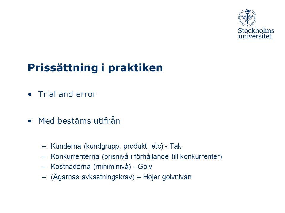 Prissättning i praktiken Trial and error Med bestäms utifrån –Kunderna (kundgrupp, produkt, etc) - Tak –Konkurrenterna (prisnivå i förhållande till ko