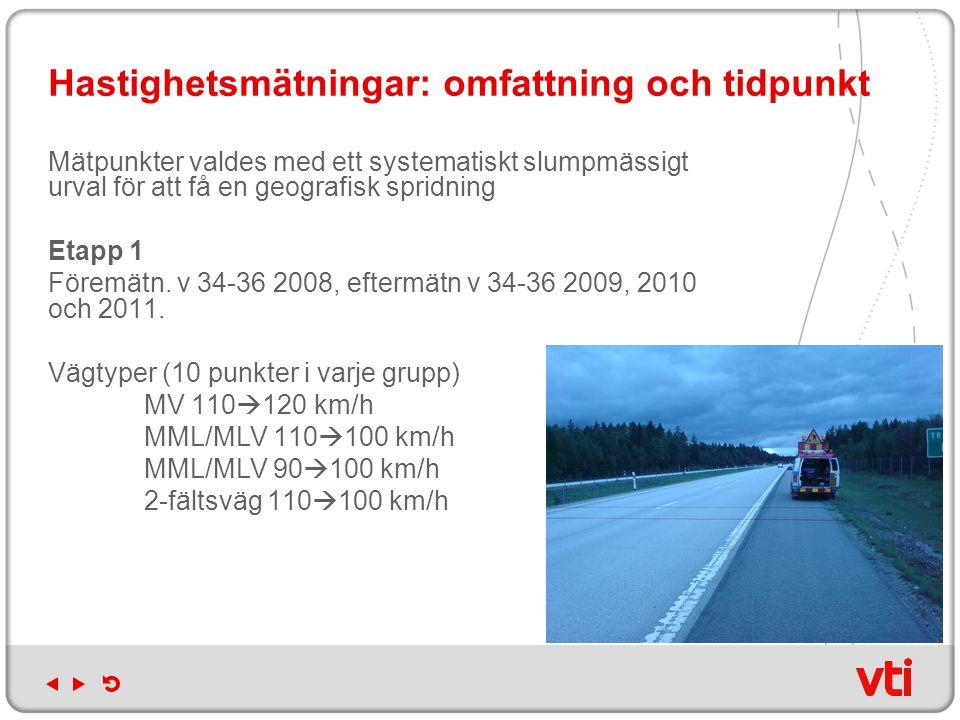 Hastighetsmätningar: omfattning och tidpunkt Mätpunkter valdes med ett systematiskt slumpmässigt urval för att få en geografisk spridning Etapp 1 Föremätn.