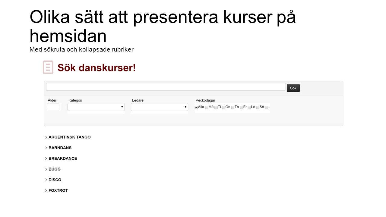 Olika sätt att presentera kurser på hemsidan Sökruta, utfällda rubriker, egen grafisk profil, eget val ålder & nivå samt färginfo antalet platser kvar
