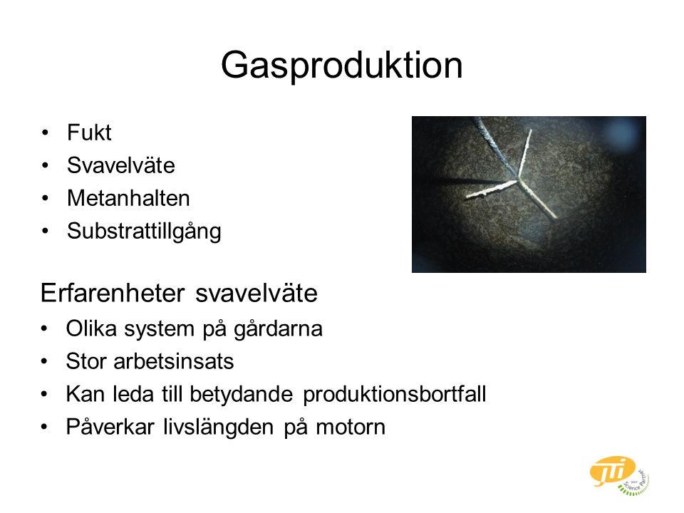 Gasproduktion Fukt Svavelväte Metanhalten Substrattillgång Erfarenheter svavelväte Olika system på gårdarna Stor arbetsinsats Kan leda till betydande produktionsbortfall Påverkar livslängden på motorn