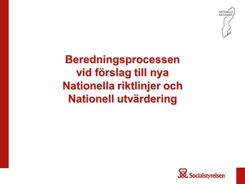 Beredningsprocessen vid förslag till nya Nationella riktlinjer och Nationell utvärdering