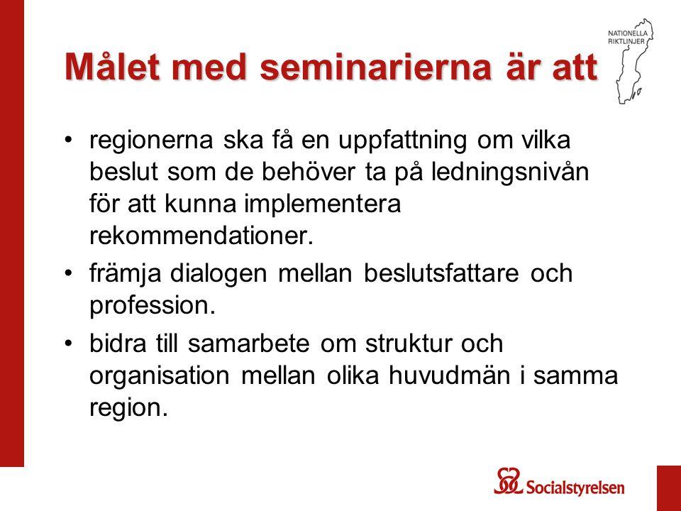Målet med seminarierna är att regionerna ska få en uppfattning om vilka beslut som de behöver ta på ledningsnivån för att kunna implementera rekommendationer.