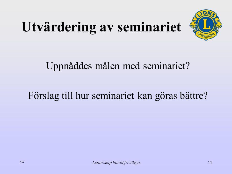 SW Ledarskap bland frivilliga11 Utvärdering av seminariet Uppnåddes målen med seminariet? Förslag till hur seminariet kan göras bättre?