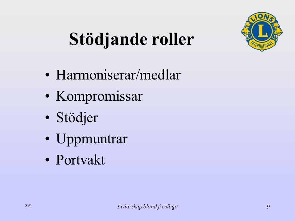 SW Ledarskap bland frivilliga9 Stödjande roller Harmoniserar/medlar Kompromissar Stödjer Uppmuntrar Portvakt