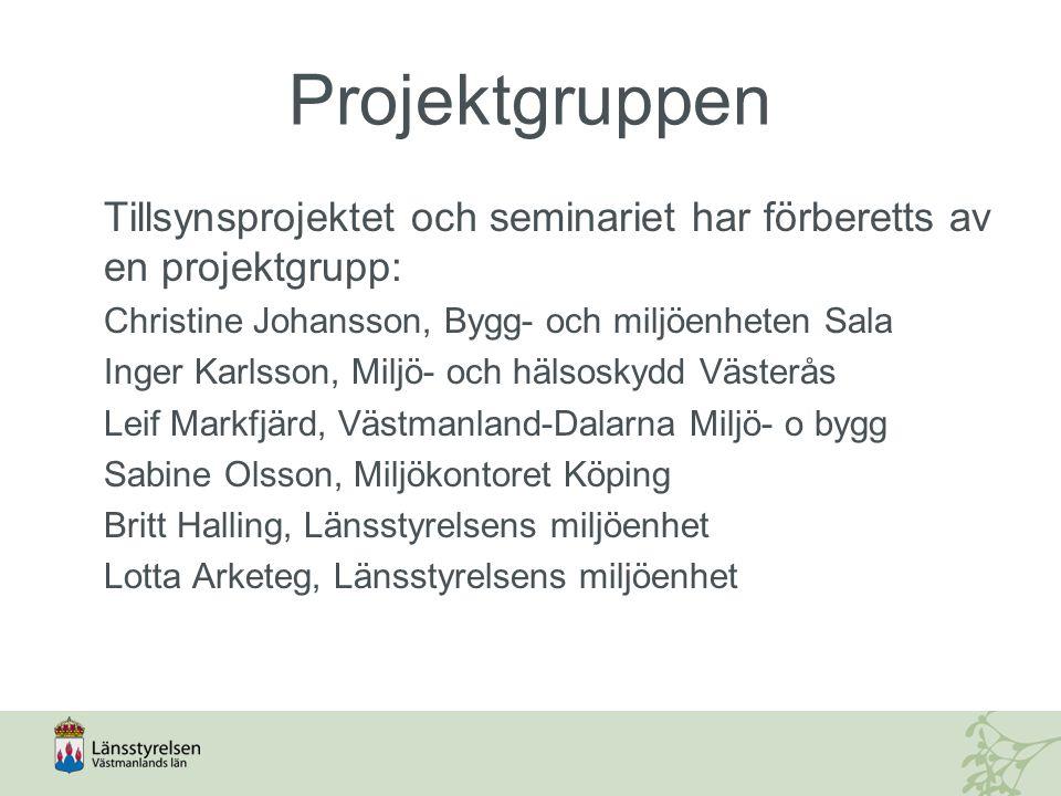 Projektgruppen Tillsynsprojektet och seminariet har förberetts av en projektgrupp: Christine Johansson, Bygg- och miljöenheten Sala Inger Karlsson, Mi