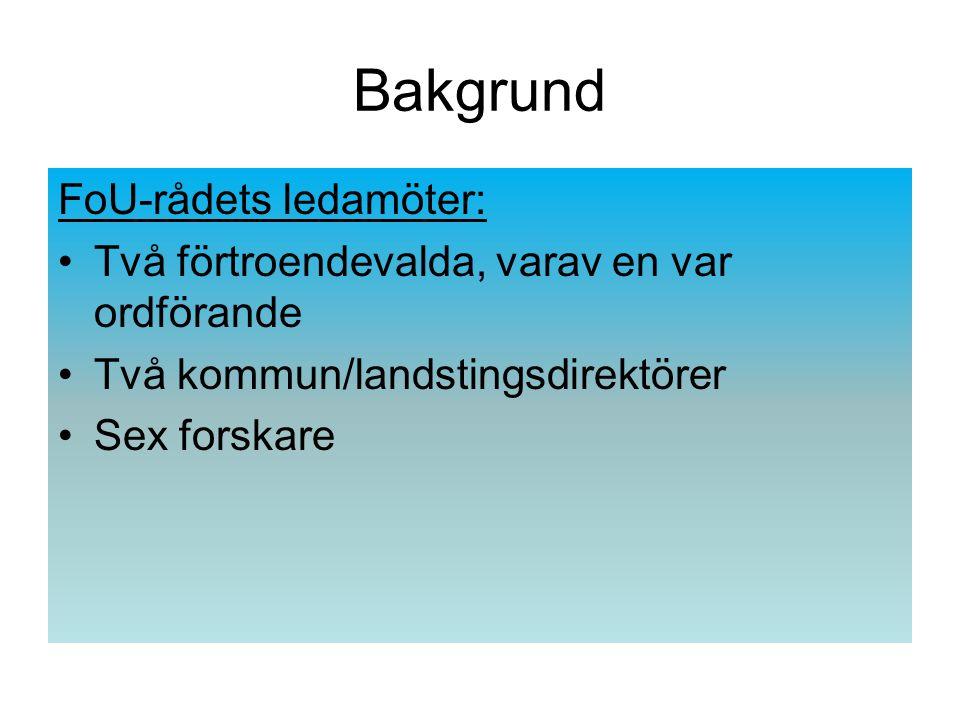 Bakgrund Totalt 11 tematiska program from 1995- 2026, innehållande 77 projekt Anslag/program ca 5 miljoner kronor Nio kunskapsöversikter Oberoende utvärderingar år 1995 och 2003