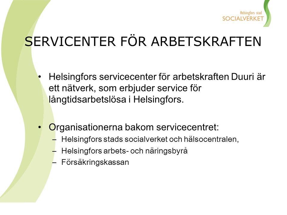 SERVICENTER FÖR ARBETSKRAFTEN Helsingfors servicecenter för arbetskraften Duuri är ett nätverk, som erbjuder service för långtidsarbetslösa i Helsingf