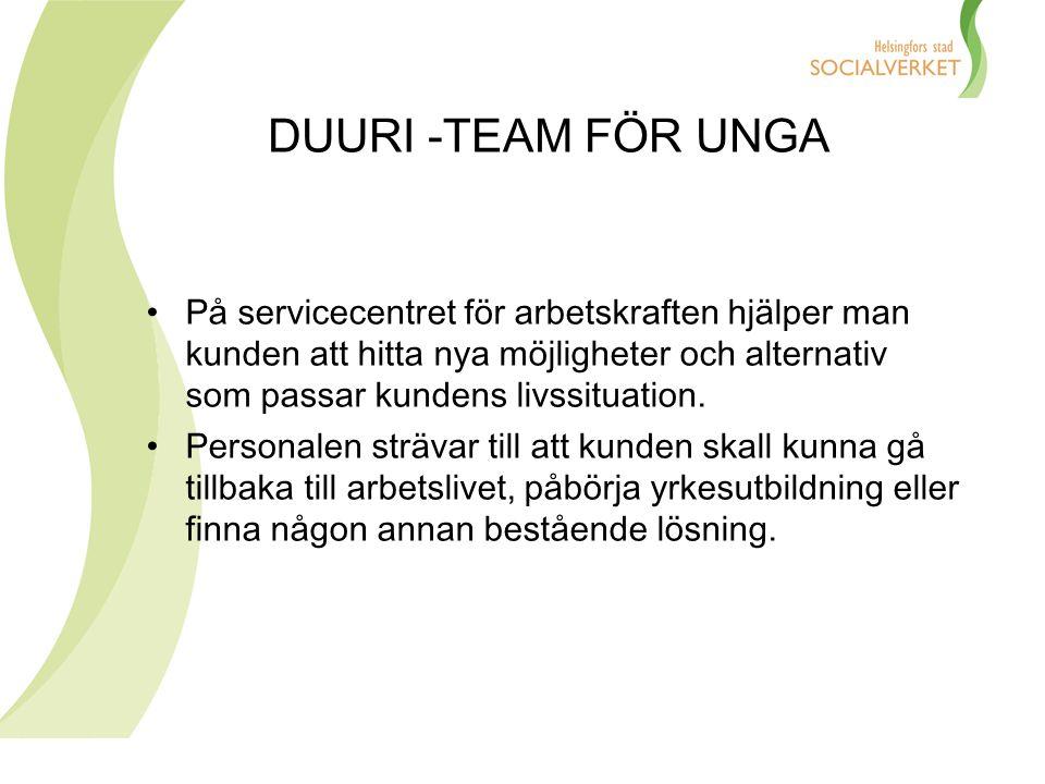 DUURI -TEAM FÖR UNGA Servicecentret för arbetskraften ger allmän vägledning och rådgivning hjälp i att söka jobb social service hälsotjänster stöd för yrkesutveckling stöd för sysselsättning rehabilitering rådgivning gällande social- och arbetslöshetsskydd
