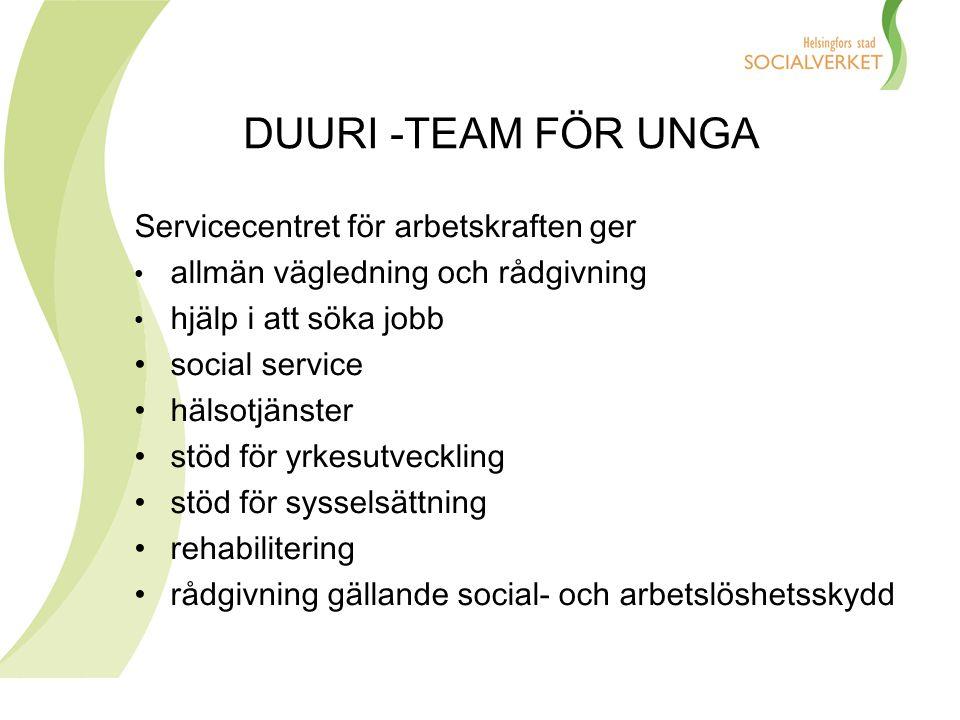 DUURI -TEAM FÖR UNGA Servicecentret för arbetskraften ger allmän vägledning och rådgivning hjälp i att söka jobb social service hälsotjänster stöd för