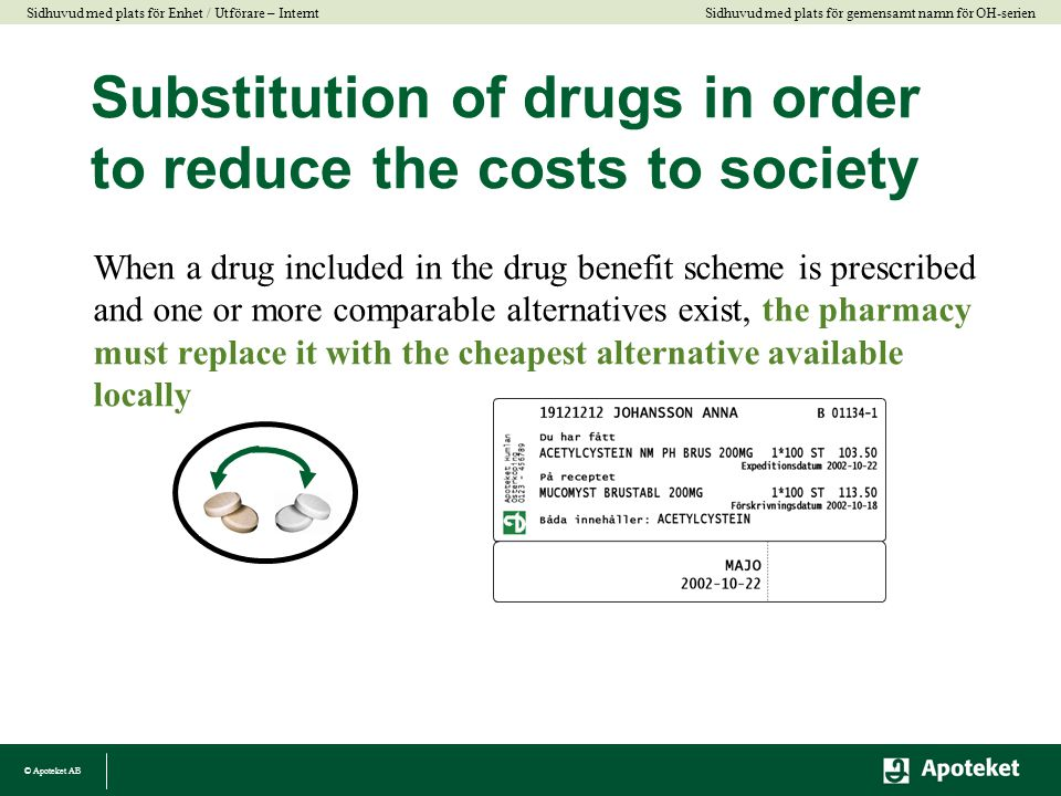 © Apoteket AB Sidhuvud med plats för gemensamt namn för OH-serien Sidhuvud med plats för Enhet / Utförare – Internt Substitution of drugs in order to reduce the costs to society When a drug included in the drug benefit scheme is prescribed and one or more comparable alternatives exist, the pharmacy must replace it with the cheapest alternative available locally