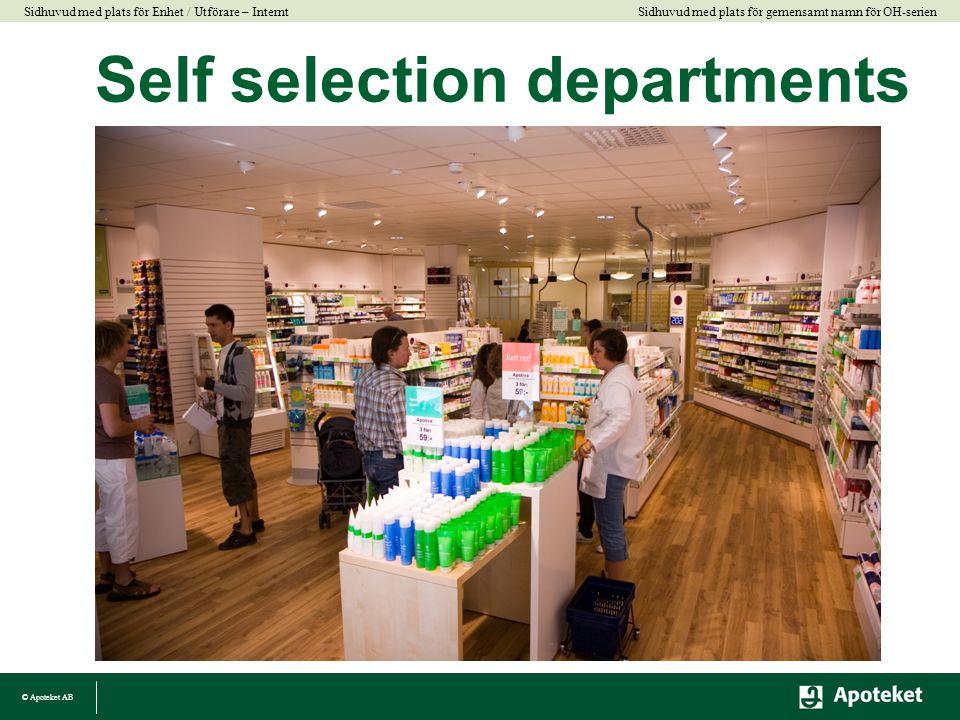 © Apoteket AB Sidhuvud med plats för gemensamt namn för OH-serien Sidhuvud med plats för Enhet / Utförare – Internt Self selection departments
