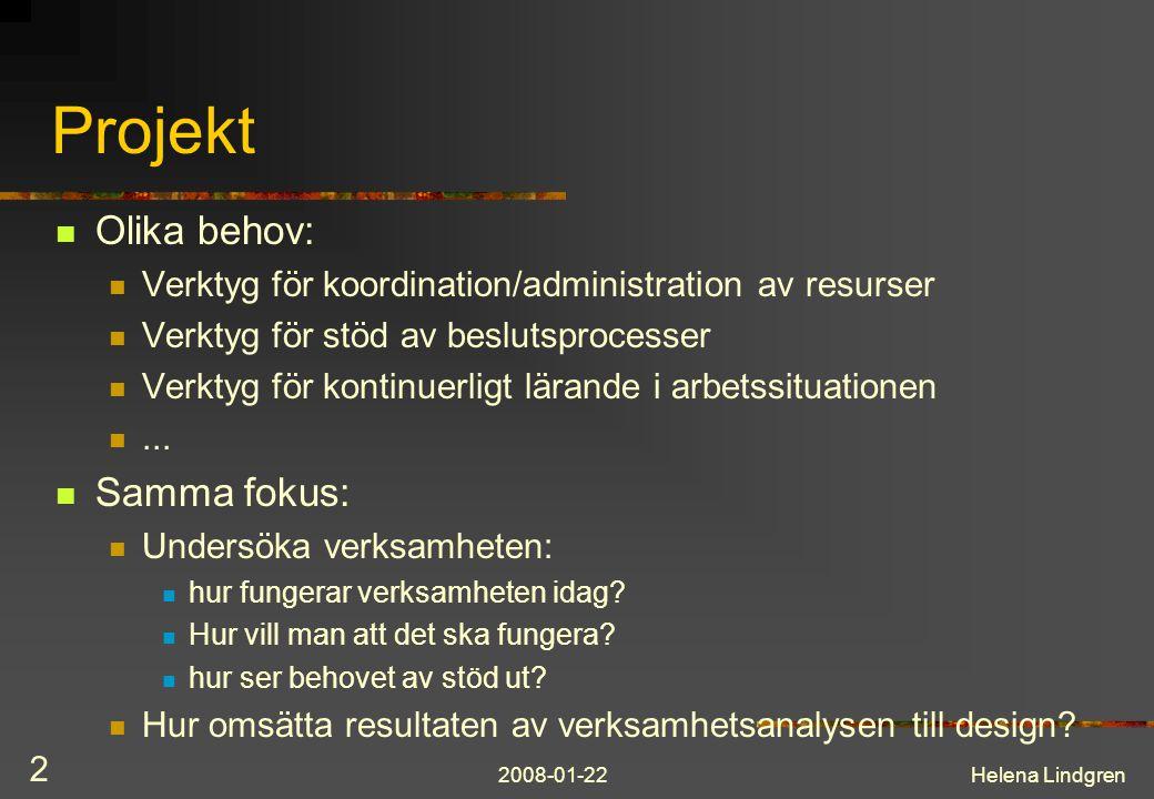 2008-01-22Helena Lindgren 2 Projekt Olika behov: Verktyg för koordination/administration av resurser Verktyg för stöd av beslutsprocesser Verktyg för kontinuerligt lärande i arbetssituationen...
