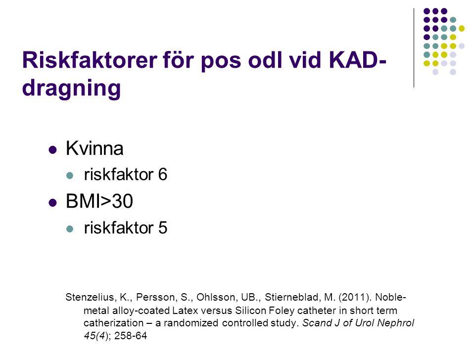 Riskfaktorer för pos odl vid KAD- dragning Kvinna riskfaktor 6 BMI>30 riskfaktor 5 Stenzelius, K., Persson, S., Ohlsson, UB., Stierneblad, M. (2011).