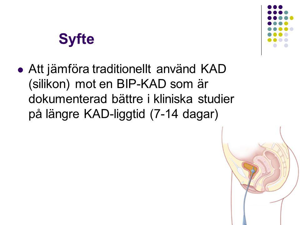 Syfte Att jämföra traditionellt använd KAD (silikon) mot en BIP-KAD som är dokumenterad bättre i kliniska studier på längre KAD-liggtid (7-14 dagar)